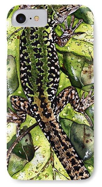 Lizard In Green Nature - Elena Yakubovich IPhone Case by Elena Yakubovich