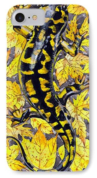 IPhone Case featuring the painting Lizard In Yellow Nature - Elena Yakubovich by Elena Yakubovich