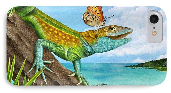 Lizard Landing Phone Case by Carolyn Steele