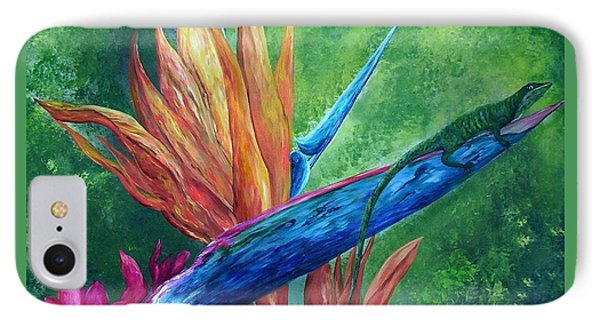 IPhone Case featuring the painting Lizard On Bird Of Paradise by Eloise Schneider