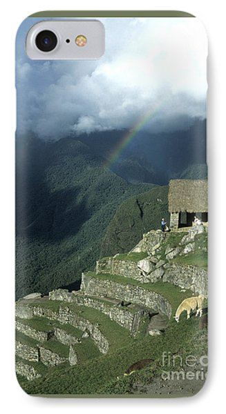 Llama And Rainbow At Machu Picchu Phone Case by James Brunker