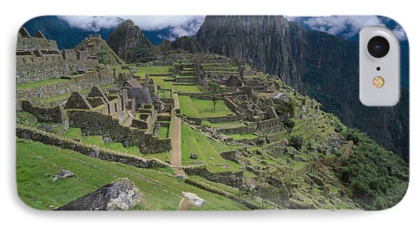 Llama At Machu Picchus Ancient Ruins IPhone Case by Chris Caldicott