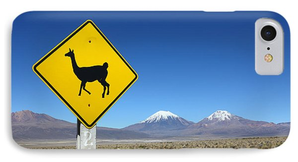 Llamas Crossing Sign IPhone Case by James Brunker