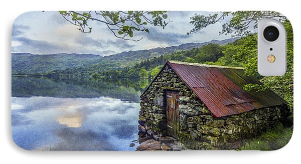 Llyn Gwynant Boathouse IPhone Case by Ian Mitchell