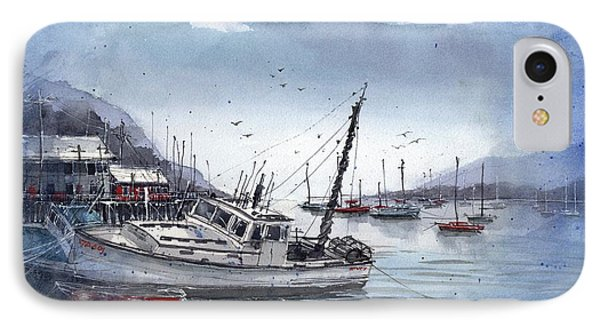 IPhone Case featuring the painting Lobster Boat At Low Tide by Tim Oliver