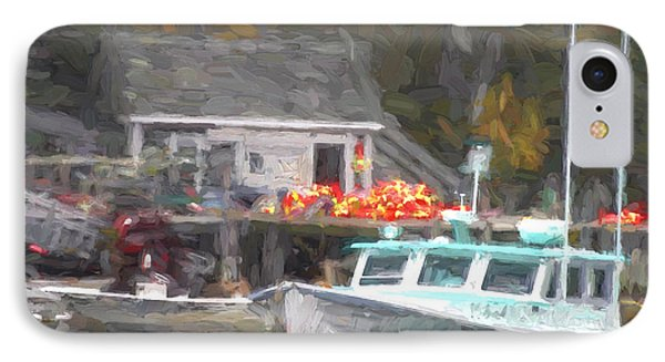 Lobster Boat New Harbor Maine Painterly Effect IPhone Case