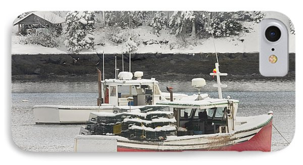 Lobster Boats After Snowstorm In Tenants Harbor Maine IPhone Case by Keith Webber Jr