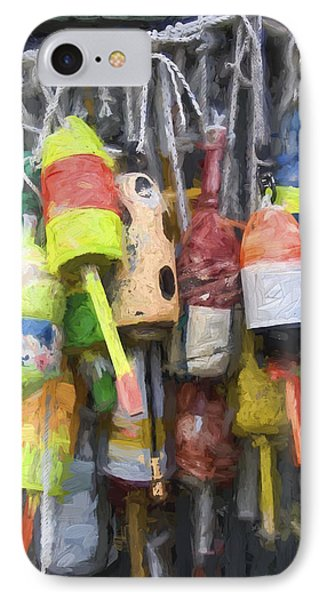 Lobster Buoys Painterly Effect IPhone Case by Carol Leigh