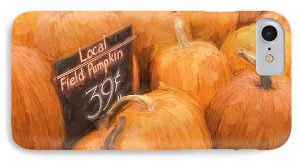 Local Field Pumpkins Painterly Effect IPhone Case by Carol Leigh