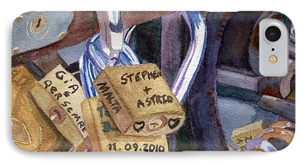 IPhone Case featuring the painting Locks Of Luck by Lynne Reichhart