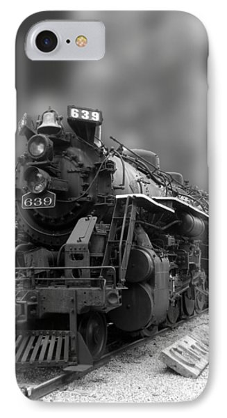 Locomotive 639 Type 2 8 2 Front And Side View Bw Phone Case by Thomas Woolworth