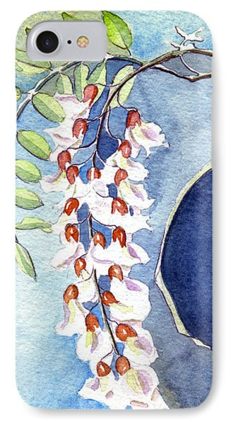 IPhone Case featuring the painting Locust Bloom by Katherine Miller