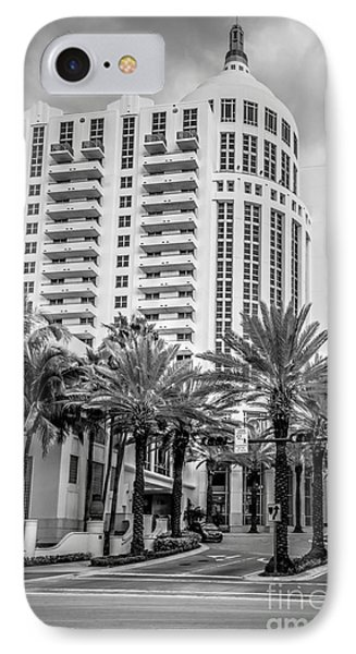 Loews Hotel On 16th Miami Beach - Black And White IPhone Case by Ian Monk