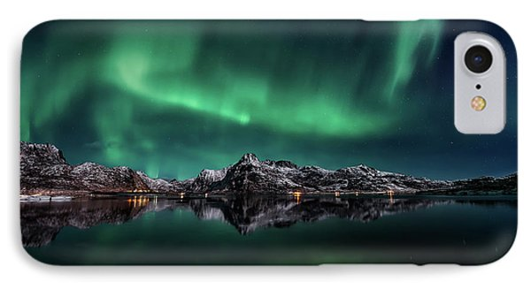 Lofoten Aurora Reflection IPhone Case