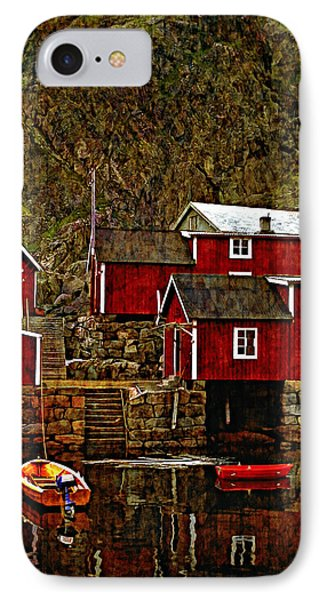 Lofoten Fishing Huts Overlay Version Phone Case by Steve Harrington