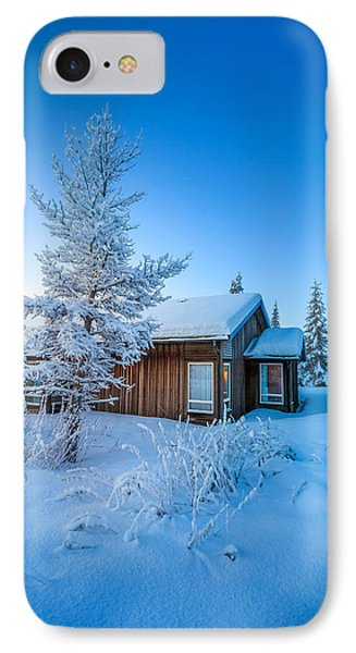 Log Cabin And Snow Covered Trees IPhone Case by Panoramic Images