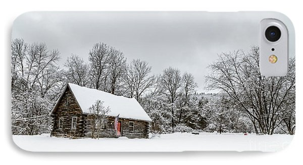 Log Cabin In The Snow IPhone Case by Edward Fielding