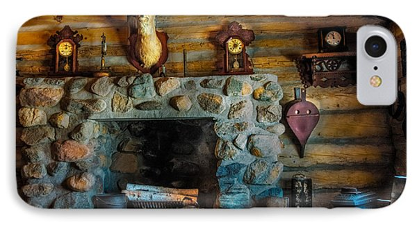 Log Cabin With Fireplace IPhone Case by Paul Freidlund