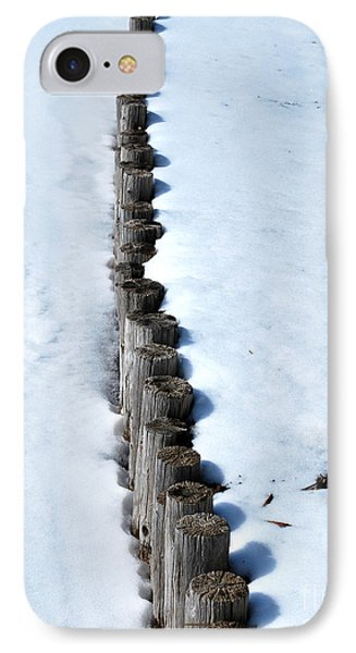 Log Fence In The Snow Phone Case by Nancy Mueller