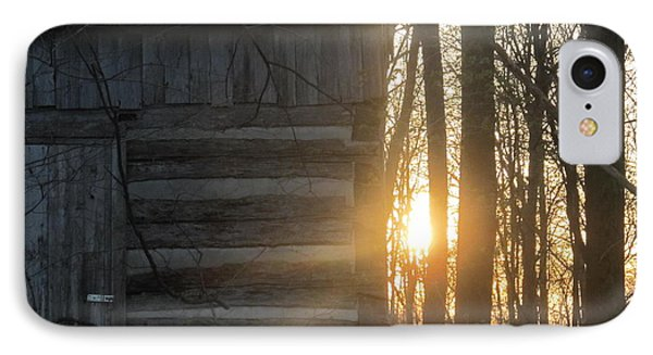 Log House Up Close And Sunset IPhone Case by Tina M Wenger
