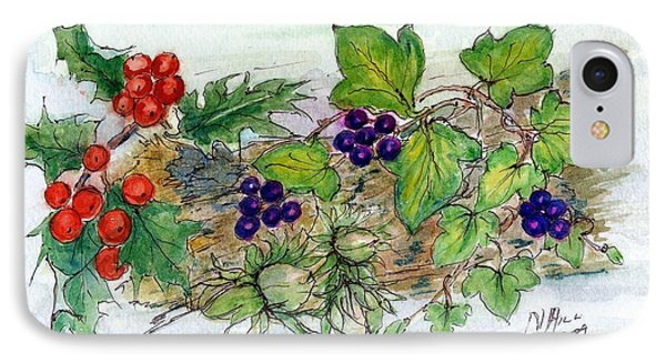 Log Of Ivy, Holly And Hazelnuts  IPhone Case by Nell Hill