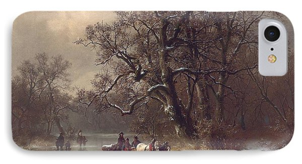 Loggers On A Frozen Waterway IPhone Case