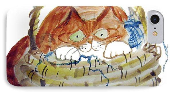 Lois Hides In The Basket Of Knitting Phone Case by Ellen Miffitt