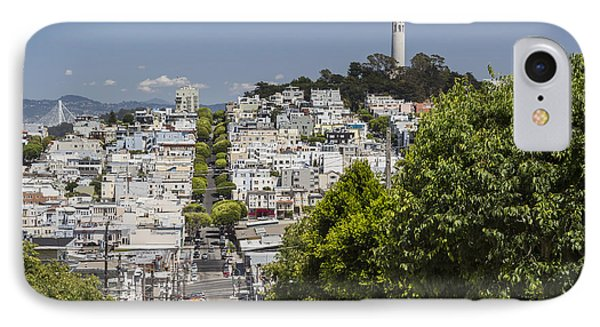 Lombard Street And Coit Tower On Telegraph Hill IPhone Case by Adam Romanowicz