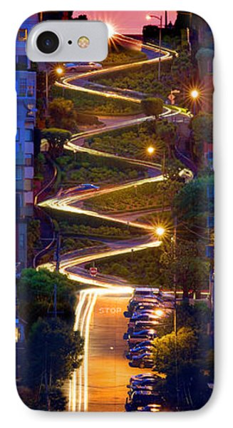 Lombard Street In The Evening San Francisco IPhone Case by Wernher Krutein