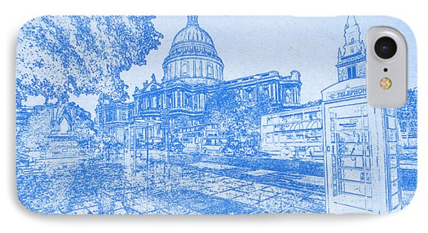 London Cathedral  - Blueprint Drawing IPhone Case by MotionAge Designs