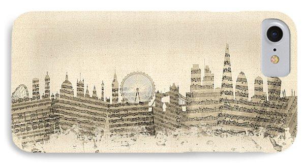 London England Skyline Sheet Music Cityscape IPhone Case by Michael Tompsett