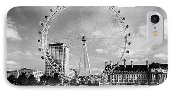 IPhone Case featuring the photograph London Eye Head-on Bw by Matt Malloy