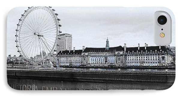 London Eye iPhone 7 Case - London Eye Mono by Jasna Buncic