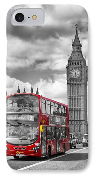 London - Houses Of Parliament And Red Bus IPhone 7 Case by Melanie Viola