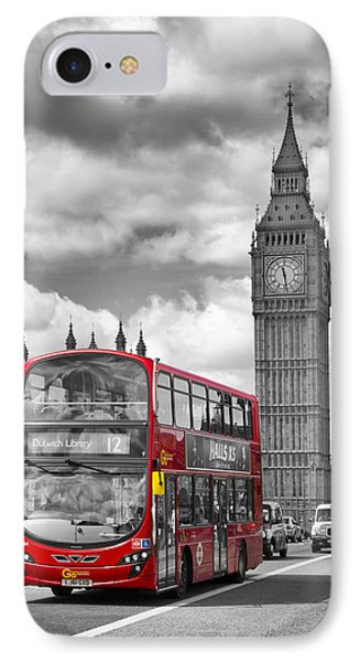 London - Houses Of Parliament And Red Bus IPhone Case by Melanie Viola