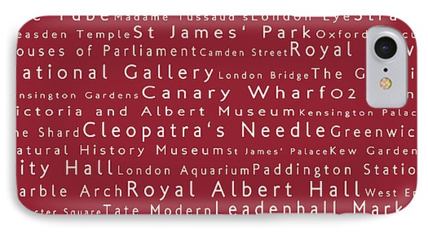 London In Words Red IPhone Case by Sabine Jacobs