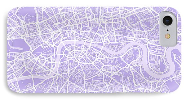 London Map Lilac IPhone Case by Michael Tompsett