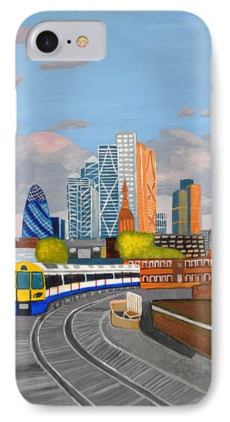 IPhone Case featuring the painting London Overland Train-hoxton Station by Magdalena Frohnsdorff