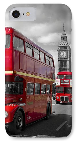 London Red Buses On Westminster Bridge IPhone 7 Case by Melanie Viola