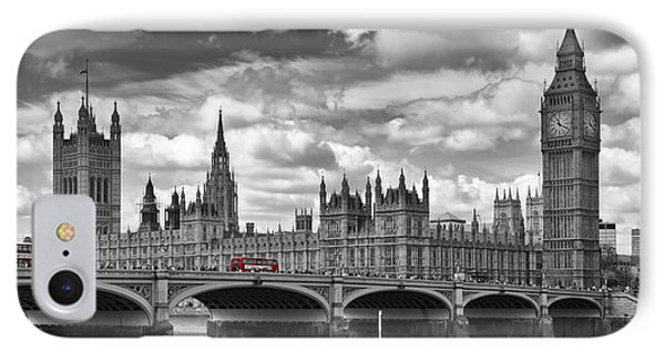 London River Thames And Red Buses On Westminster Bridge IPhone Case by Melanie Viola