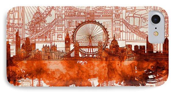 London Eye iPhone 7 Case - London Skyline Old Vintage 2 by Bekim Art