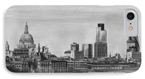London Skyline Pencil Drawing IPhone Case