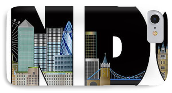 London Skyline Text Outline Color Illustration IPhone Case by Jit Lim