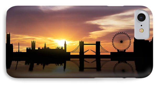 London Sunset Skyline  IPhone Case by Aged Pixel