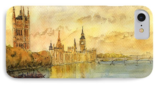 London Thames River IPhone Case by Juan  Bosco