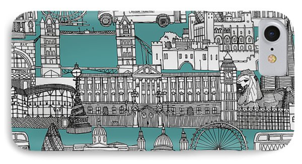 London Toile Blue IPhone Case by Sharon Turner