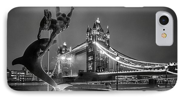 London Tower Bridge And Dolphin In Mono IPhone Case