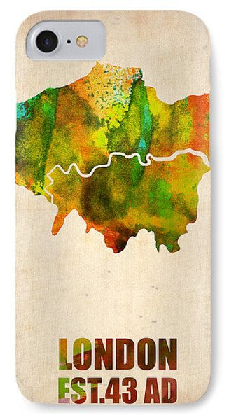 London Watercolor Map 1 Phone Case by Naxart Studio