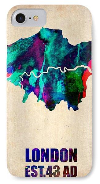 London Watercolor Map 2 Phone Case by Naxart Studio