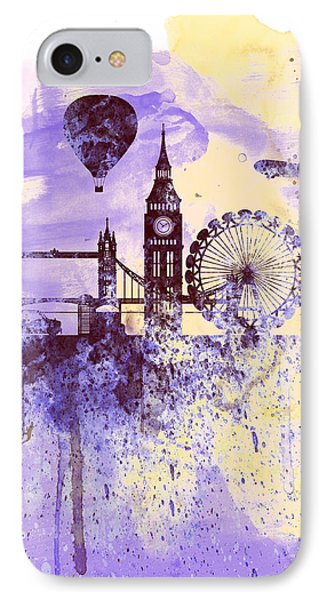 London Watercolor Skyline IPhone Case by Naxart Studio